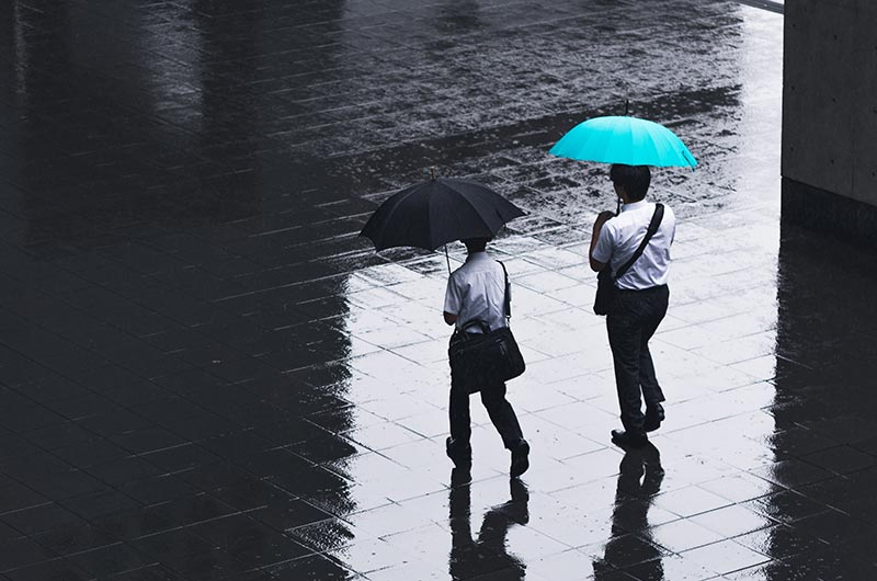 Businessmen walking in the rain