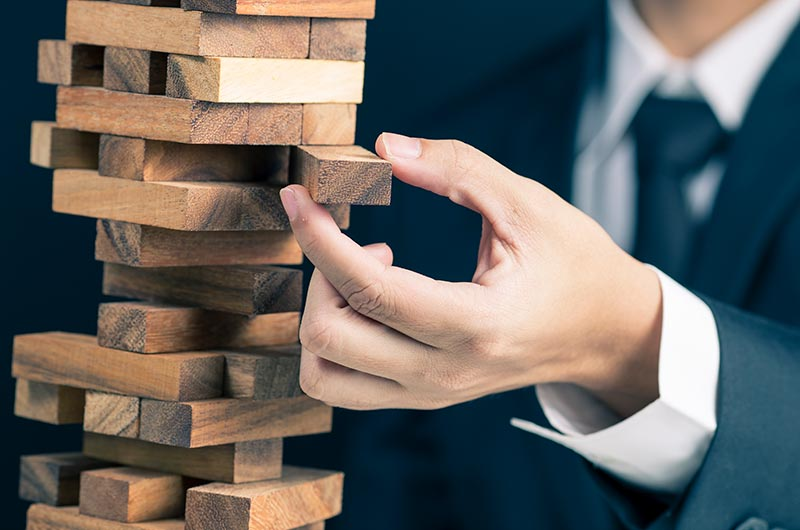 Man Playing Jenga