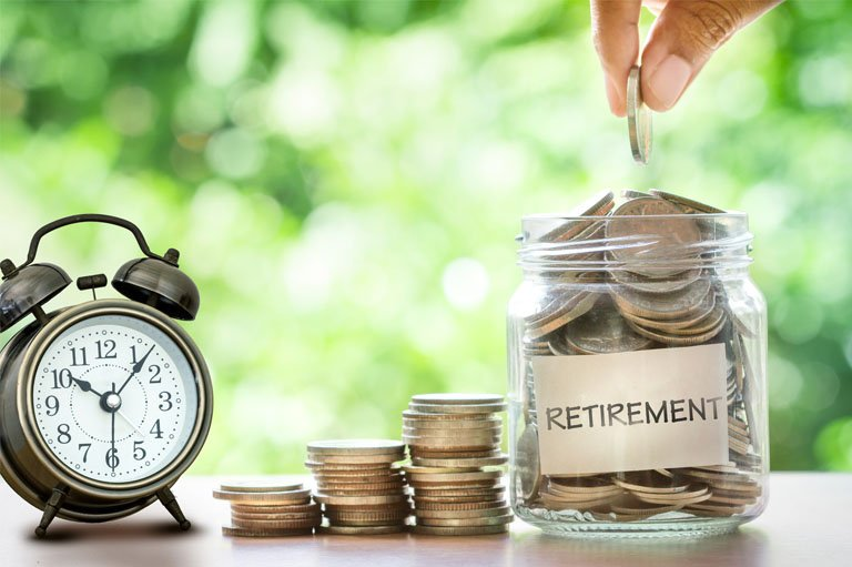 Retirement Savings Jar and Time Clock