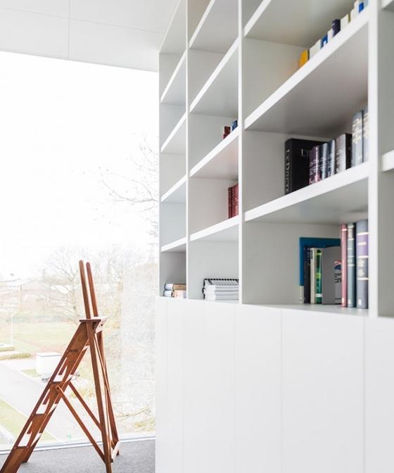 a sleek, modern apartment book case