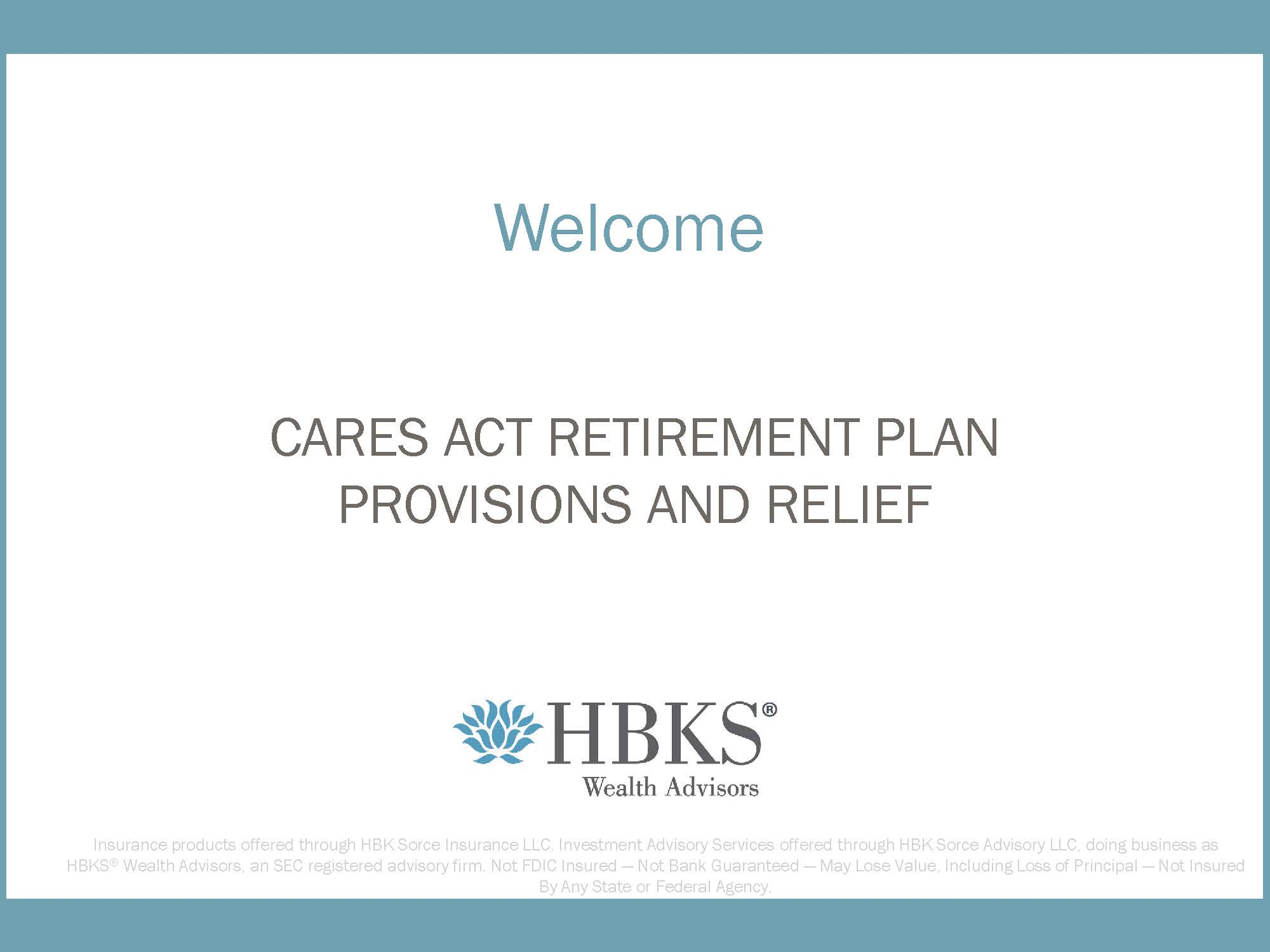 Watch: CARES Act Retirement Plan Provisions and Relief