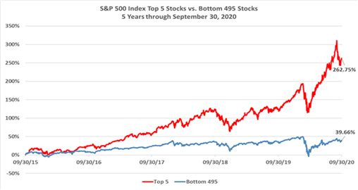 S&P 500 Index Top 5 Stocks vs. Bottom 495 Stocks